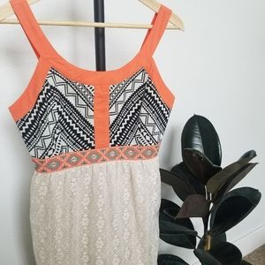 Flying Tomato Lace and Tribal Mini Dress